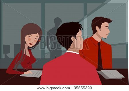 Three People In Red Clothing At A Business Meeting