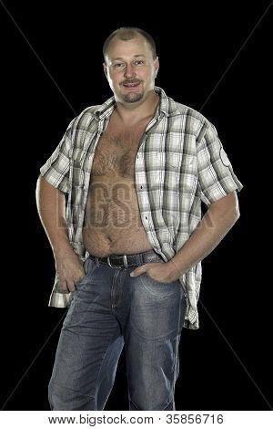 Man Posing With Open Shirt