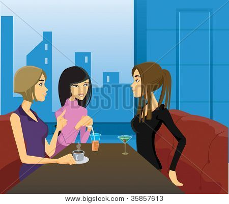 Three Women Socializing Over Drinks In A Restaurant