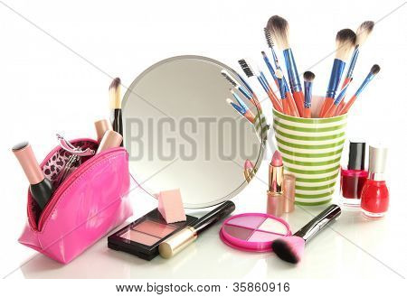 cosmetics near mirror isolated on white