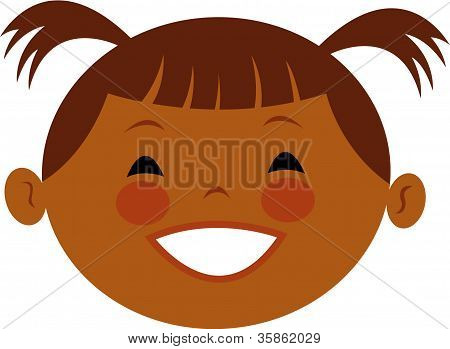 Illustration Of A Girl With Pig Tails
