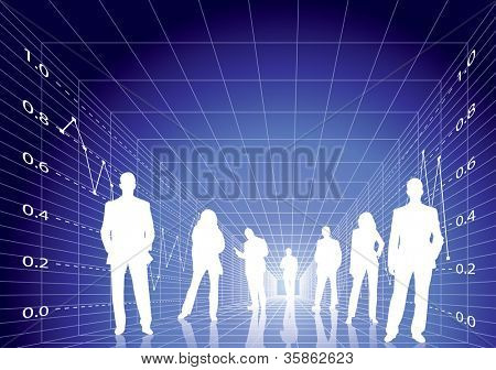Business people with digital stock diagram background. Editable vector in portfolio.