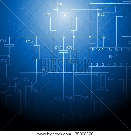 Abstract electrical scheme background. Vector design