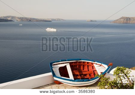 Old Fishing Boat Caldera Oia Santorini