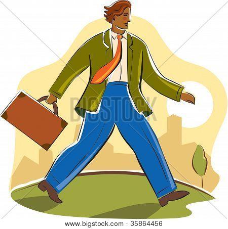 Empresario caminar enérgicamente