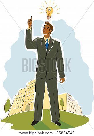 Businessman Having A Bright Idea