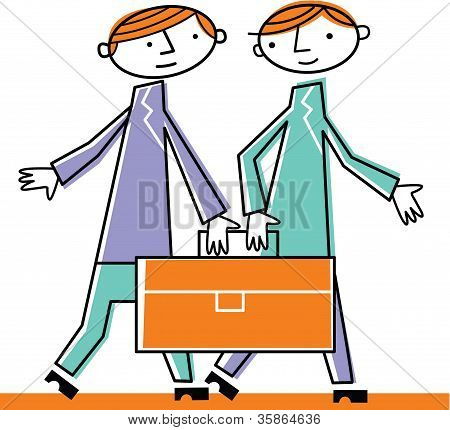 Two Men Walking With Briefcase