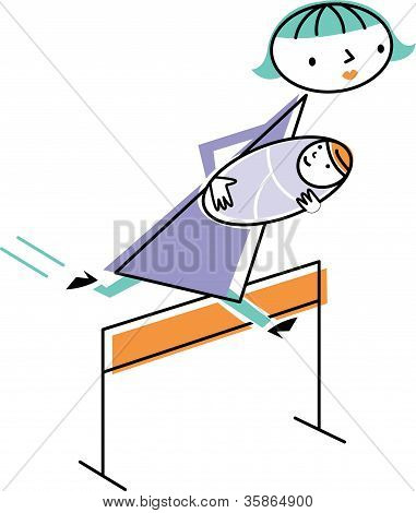 Woman Carrying Baby Jumping Over Hurdle