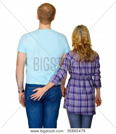 Young Couple - Rear View On White