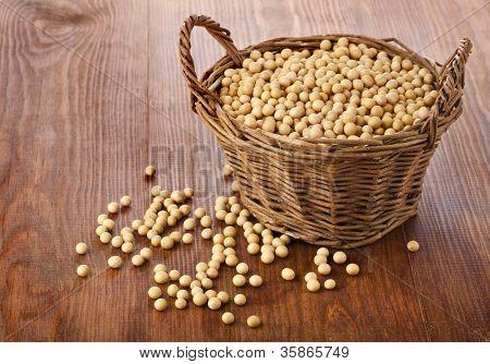 Soy beans in a basket on wooden desk
