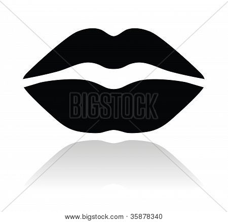 Lips black glossy icon