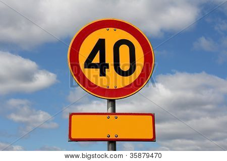 Maximum Speed 40 Km Per Hour With Blank Letter Plate
