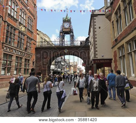 A Busy Eastgate Street In Chester, England