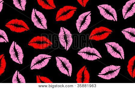 Kiss Seamless Lip Pattern Red And Pink Background