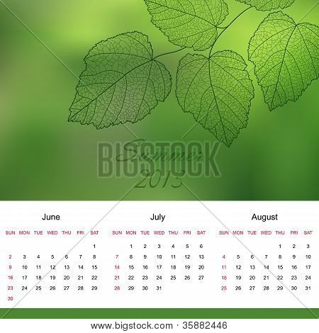 Summer calendar page of new 2013 year vector