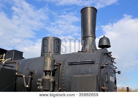 Detail of a historic steam locomotive