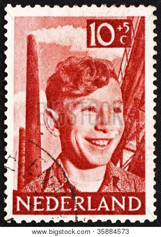 Postage stamp Netherlands 1951 Boy, Chimneys and Steelwork