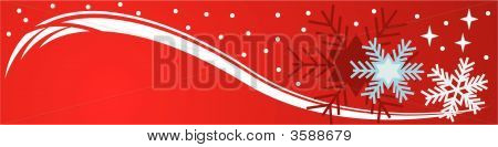 Red Banner With Snowflakes And Stars
