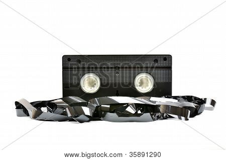 Old  vhs video cassette isolated