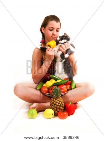 Girl With Fruit And A Cat