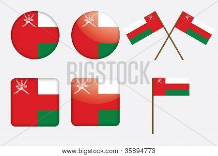 Badges With Flag Of Oman