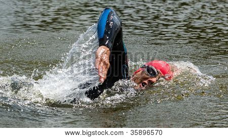 Triathlete in swimming