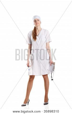 Doctor Posing Over The White Background
