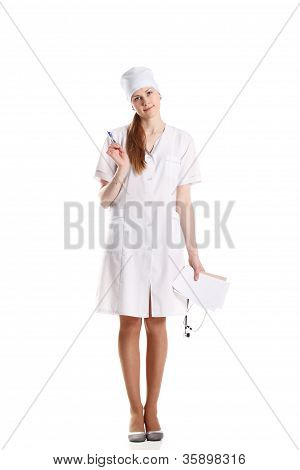 Doctor With Stethoscope Posing Over The White Background
