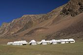 image of manali-leh road  - Tented tourist camp on the high altitude Lingani plains at Sarchu  - JPG