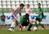 KAPOSVAR, HUNGARY - JULY 21: Unidentified players in action at the VIII. Youth Football Festival U14