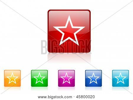 star square web glossy icon colorful set
