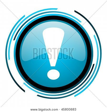 exclamation sign blue circle glossy icon