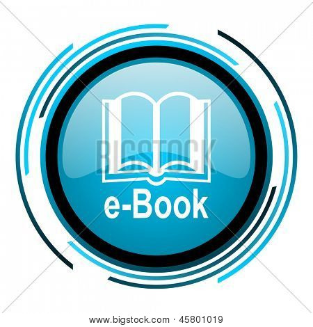 e-book blue circle glossy icon