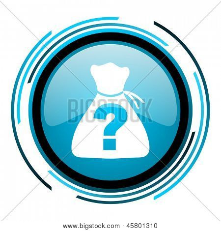 riddle blue circle glossy icon