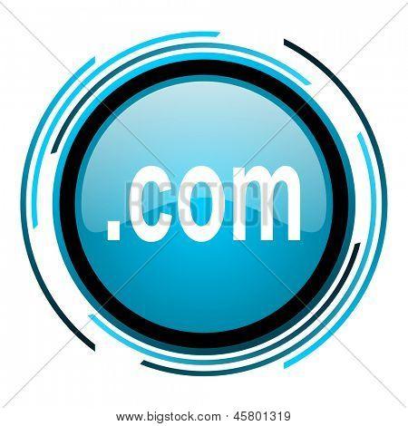 com blue circle glossy icon