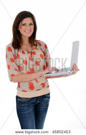 Adult woman set against a white background