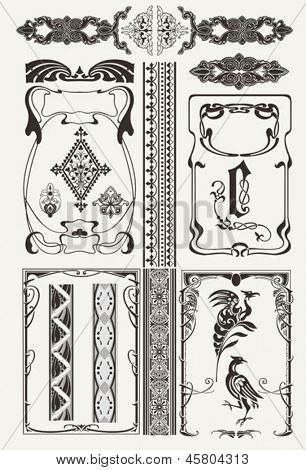 Set Of Ornate Frames In Art-Deco Style