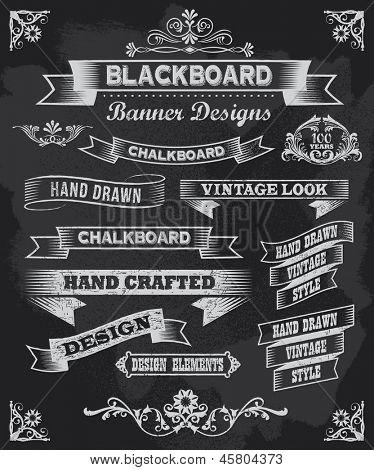 Banners de caligrafía de pizarra. Diseño de pizarra de estilo vintage