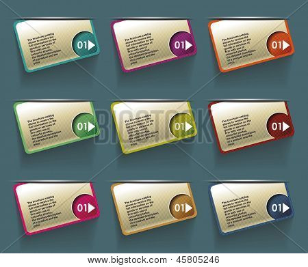 step by step labels with numbers . vector illustration