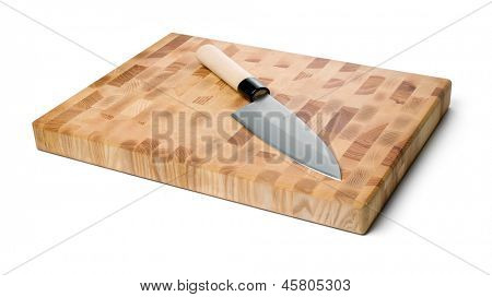Japanese traditional deba knife and cutting board isolated on white background. (Isolated with path).