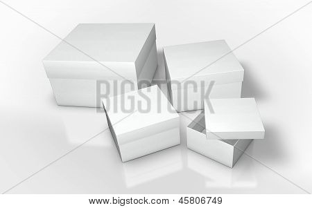 a series of white cardboard box