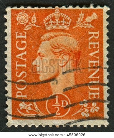 UK - CIRCA 1950: A stamp printed in UK shows image of the George VI (Albert Frederick Arthur George) was King of the United Kingdom and the Dominions of the British Commonwealth, circa 1950.