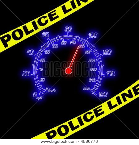 Police Line And Speedometer On The Black