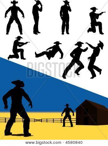 Silhuetas de ação ocidental