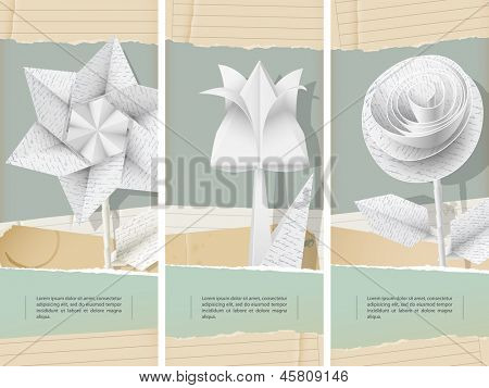 Paper flowers with handwriting texture- banners - eps 10