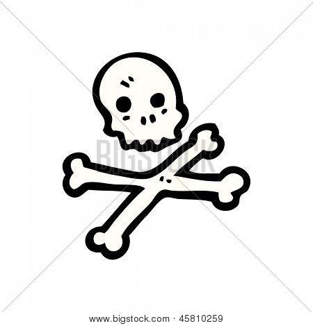 símbolo de ossos de crânio e Cruz de desenhos animados