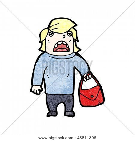 cartoon man with handbag