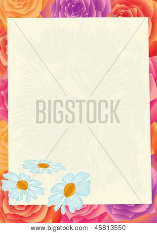 Sheet Of Paper On A Flower Background.