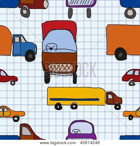 Abstraction, Children's Drawings Of Cars, Seamless Pattern.