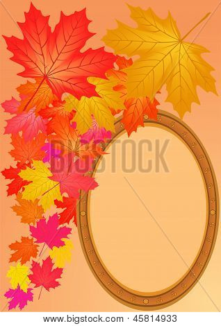 Autumn Maple Leaves And Wooden Framework.
